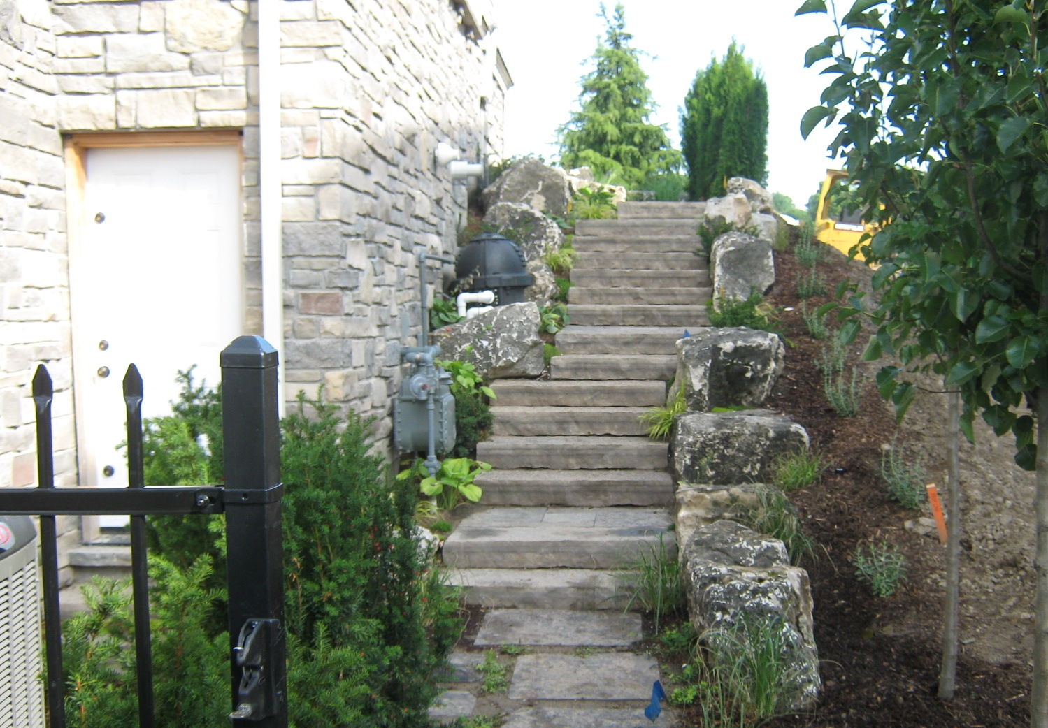 Natural stone steps, side-view.