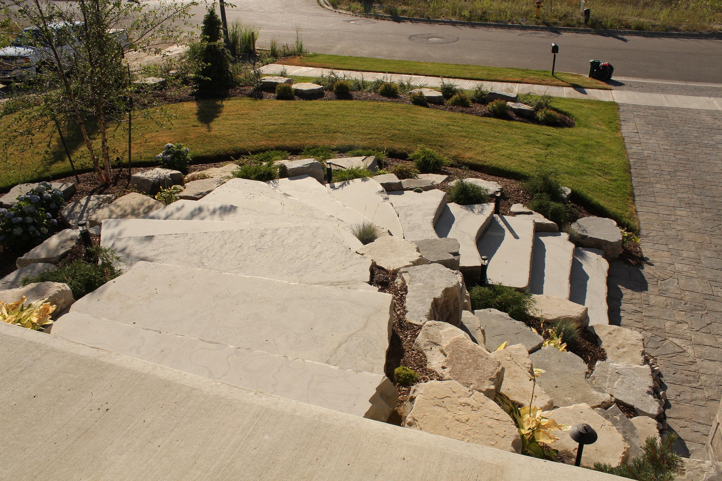 Natural stone slabs, front entrance.