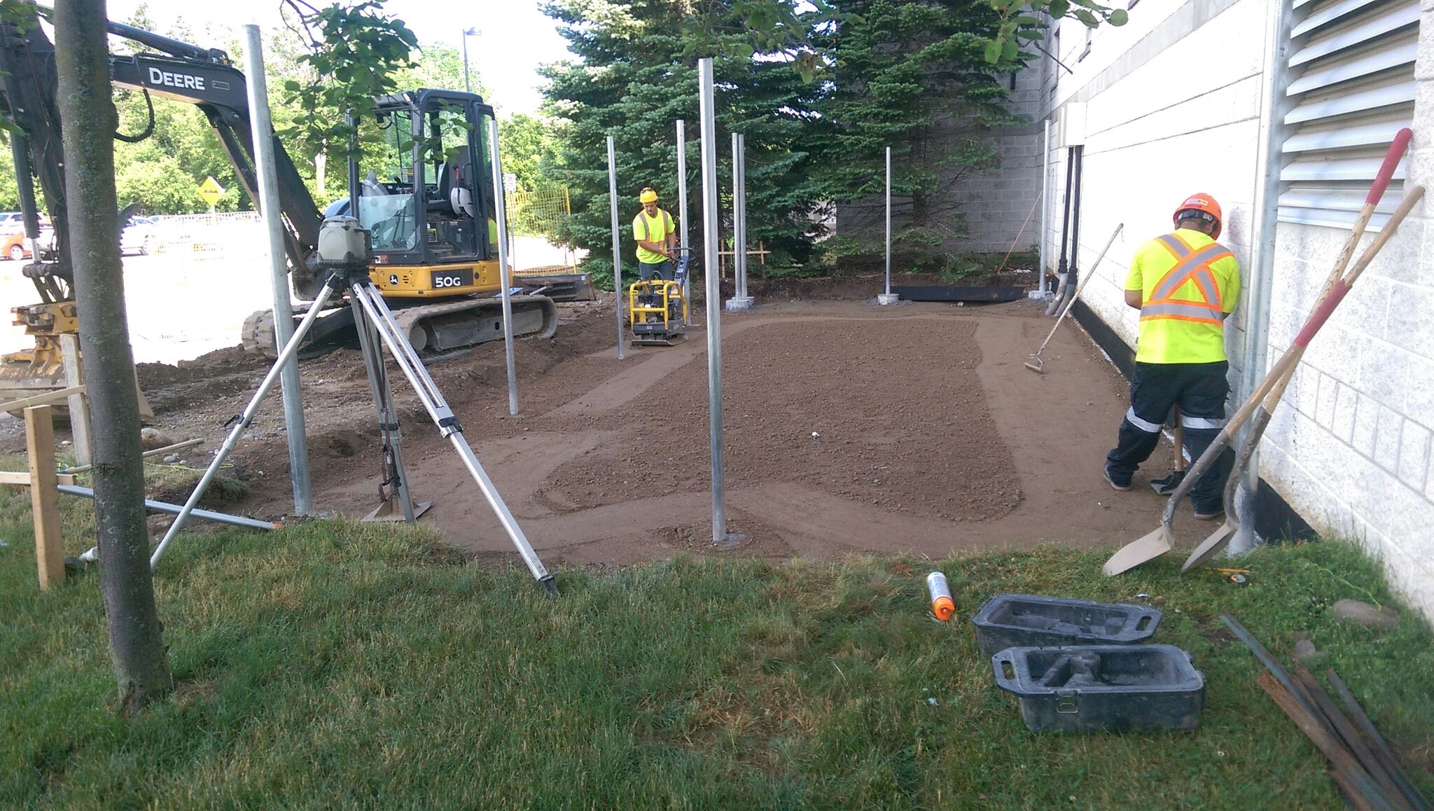Preparing base for generator slab.