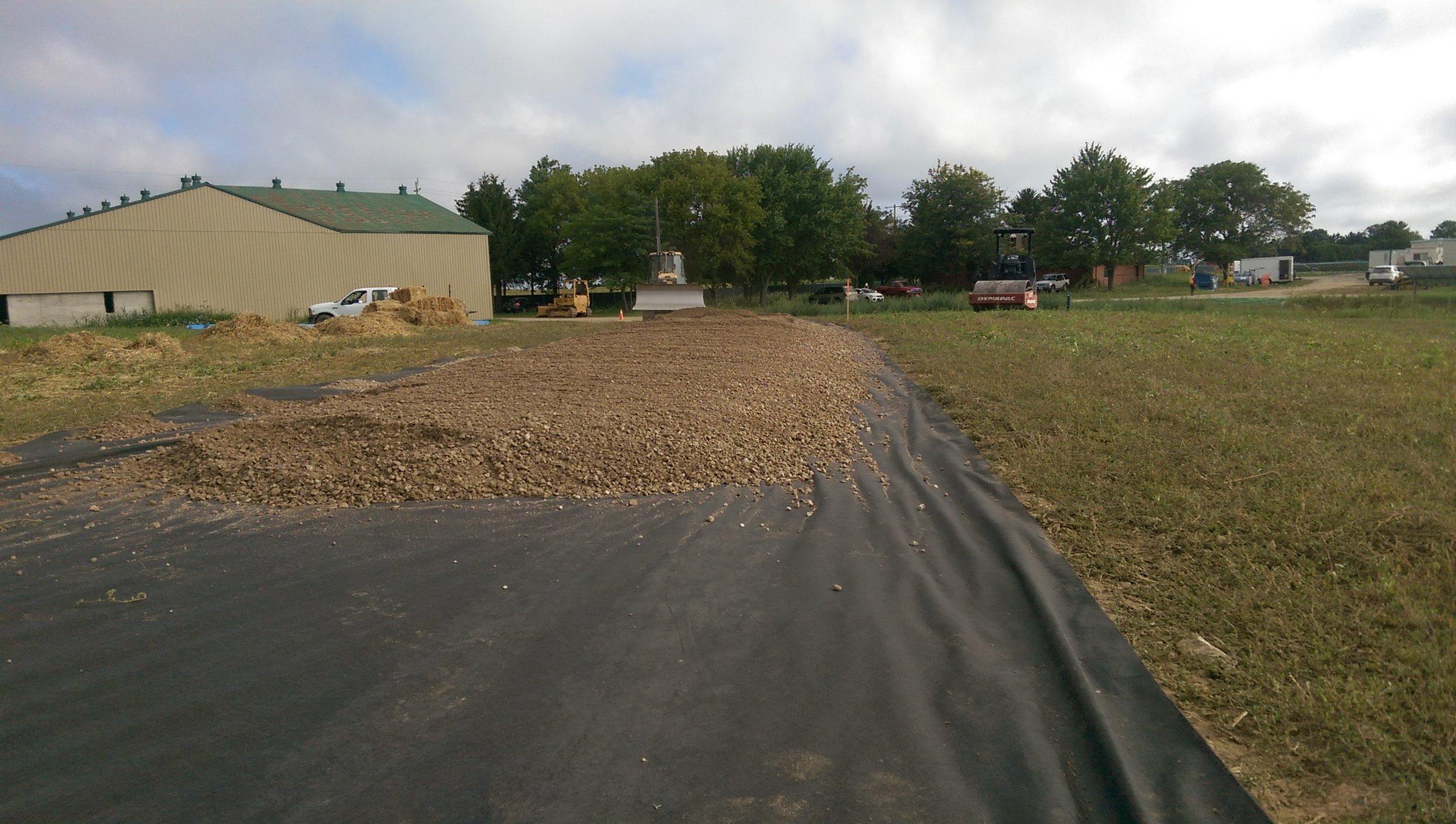 Building access road.