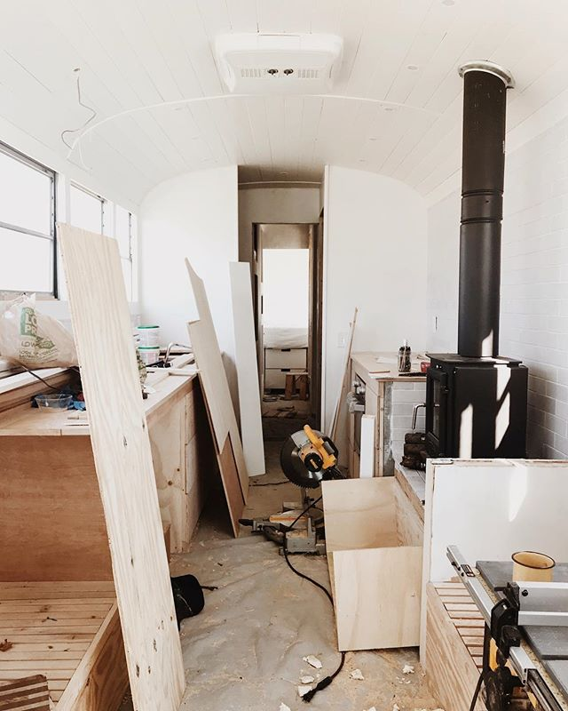 Nope, not an Airstream! Our current project is a big ass school bus.  Last year, @lexiarielle contacted us about her family's desire to sell their large home and downsize. What was initially a consultation turned into a design job, and from afar, I worked with Lexi to design the interior of a bus I'd never set foot in. The process took many months, and I was eagerly awaiting to see the space come together via images Lexi would send over of progress. @skoolie_com did a large portion of the initial work on this bus, including the roof raise, electrical, radiant heat install and more, and the bus has been worked on by Lexi's husband, Michael, and various other folks over the last year. Little did we know that when we returned home, we'd be the ones to be finishing this bus! I am so excited to see the design fully come to life, and that all the final touches and builds will be finished by my beautiful wife, who understands my vision and can build my designs so wonderfully.  Can't wait to share this finished space with you all, and if you haven't already, give @skoolie_com a quick follow - they are doing some super amazing stuff down in Asheville.