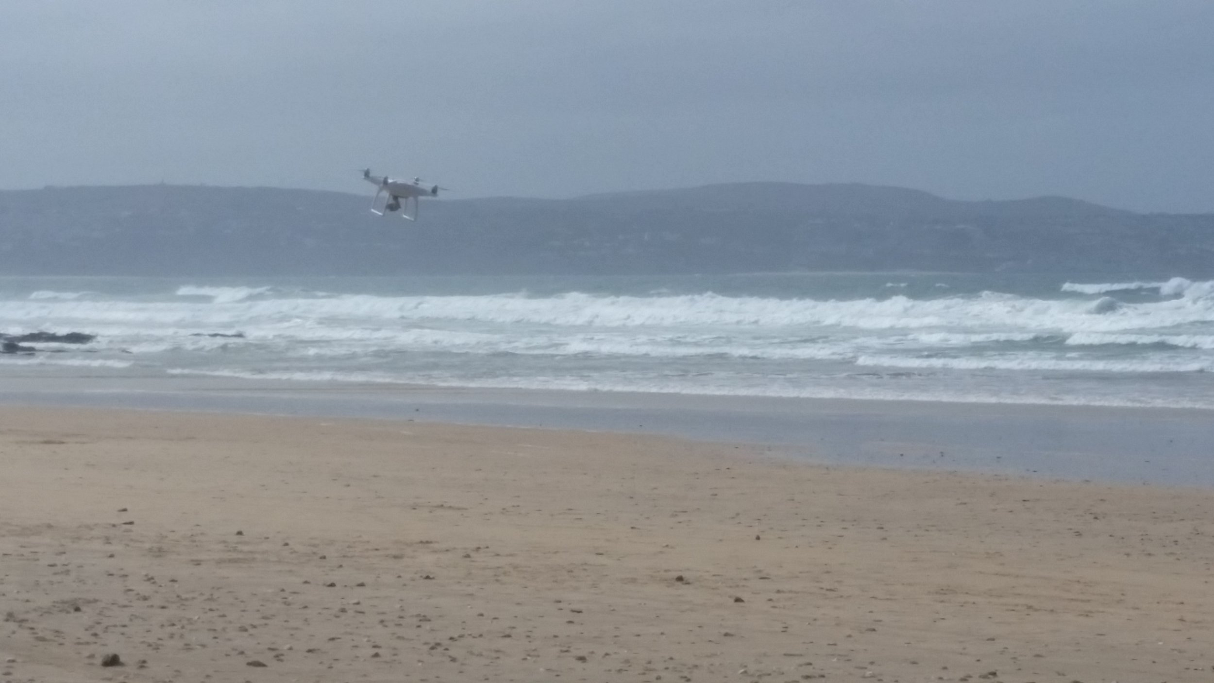 Our DJI Phantom 4 survey drone fighting a strong headwind.