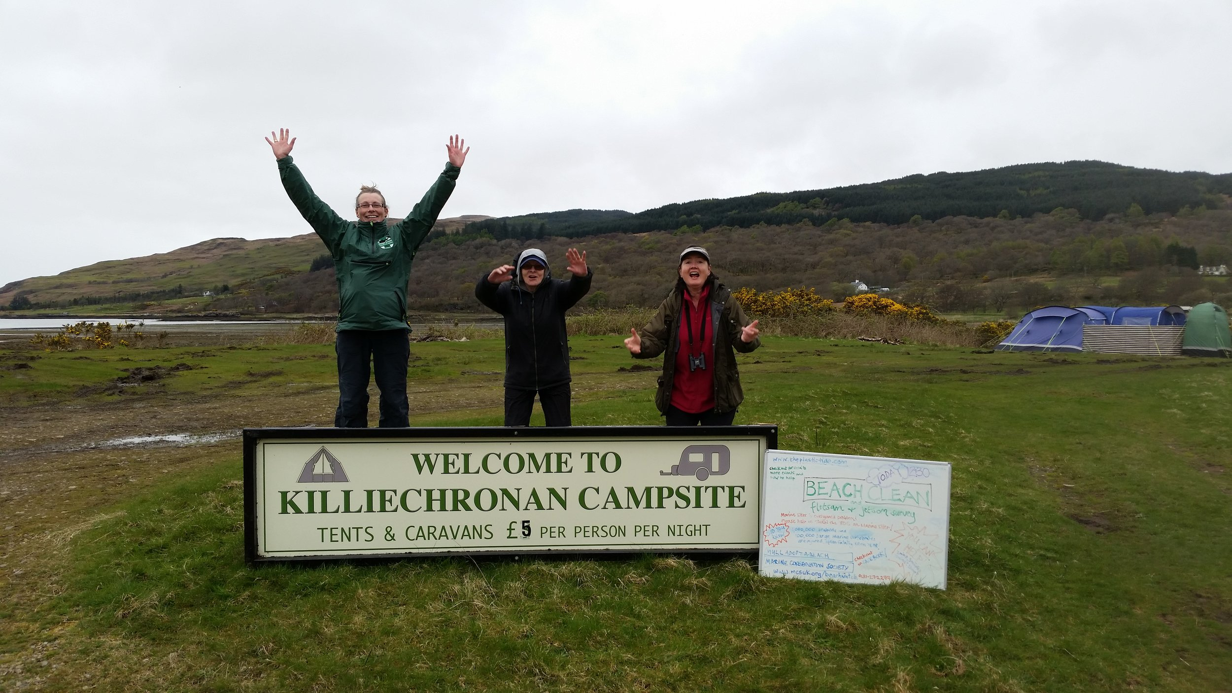 Janie, Cathy and Marie at various stages of the beach clean jump at our hosts campsite.