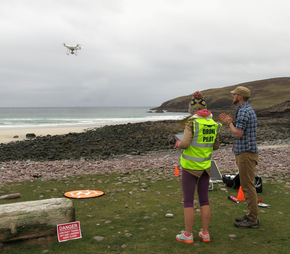 Ellie and Pete starting the drone Survey (Courtesy David Haines)