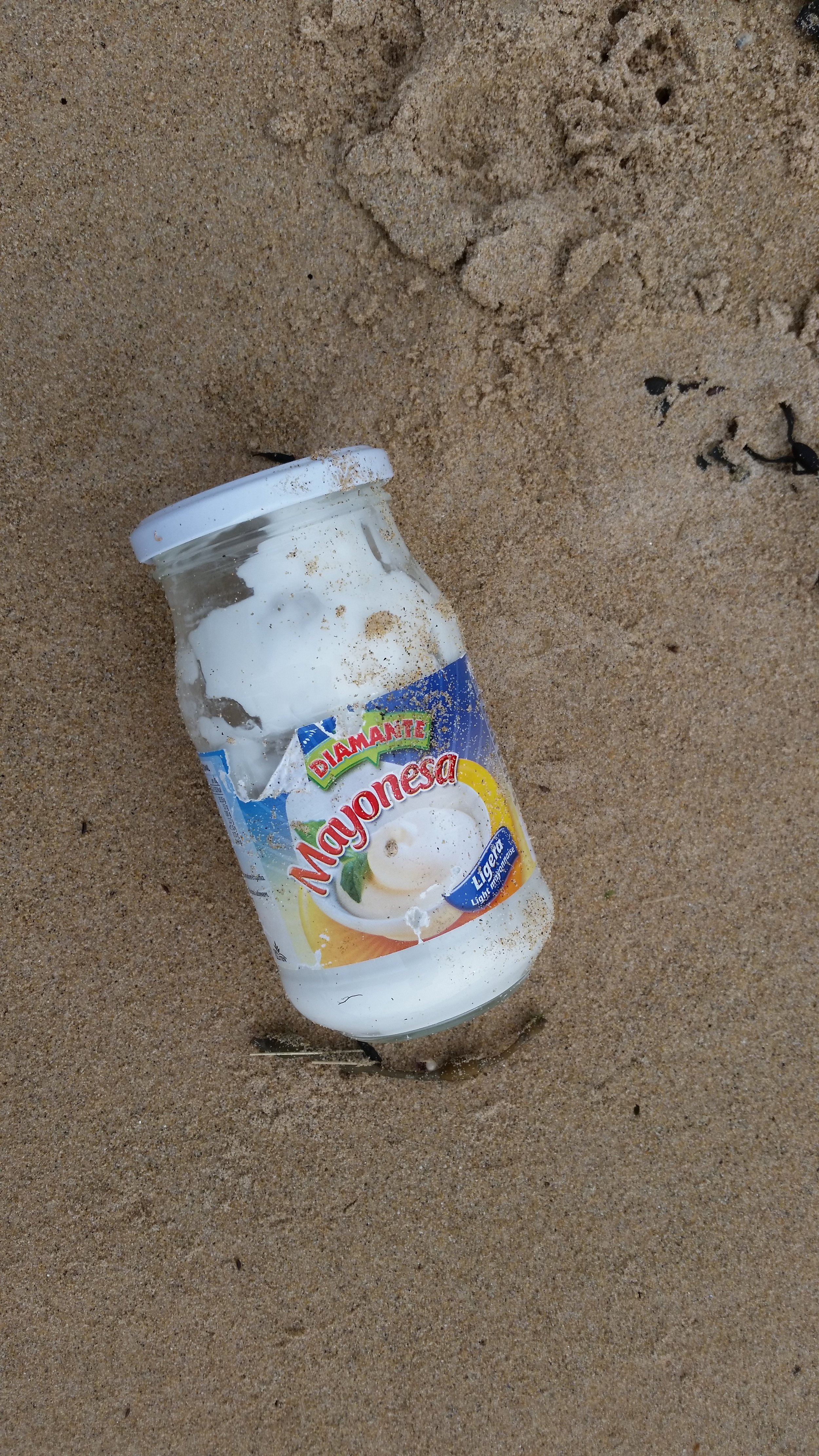 Spanish (we think) Mayonnaise jar, with Mayonnaise stilll in it!