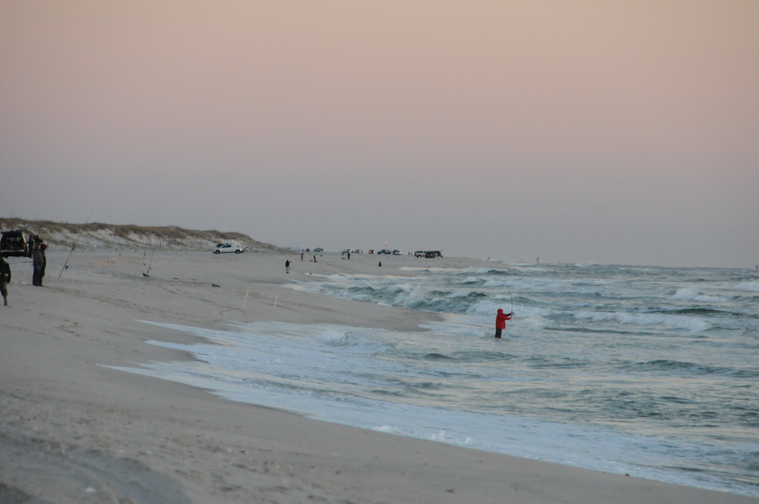 Typical surf fishing day in late November on Island Beach State Park (Courtesy Morris Enyeart)