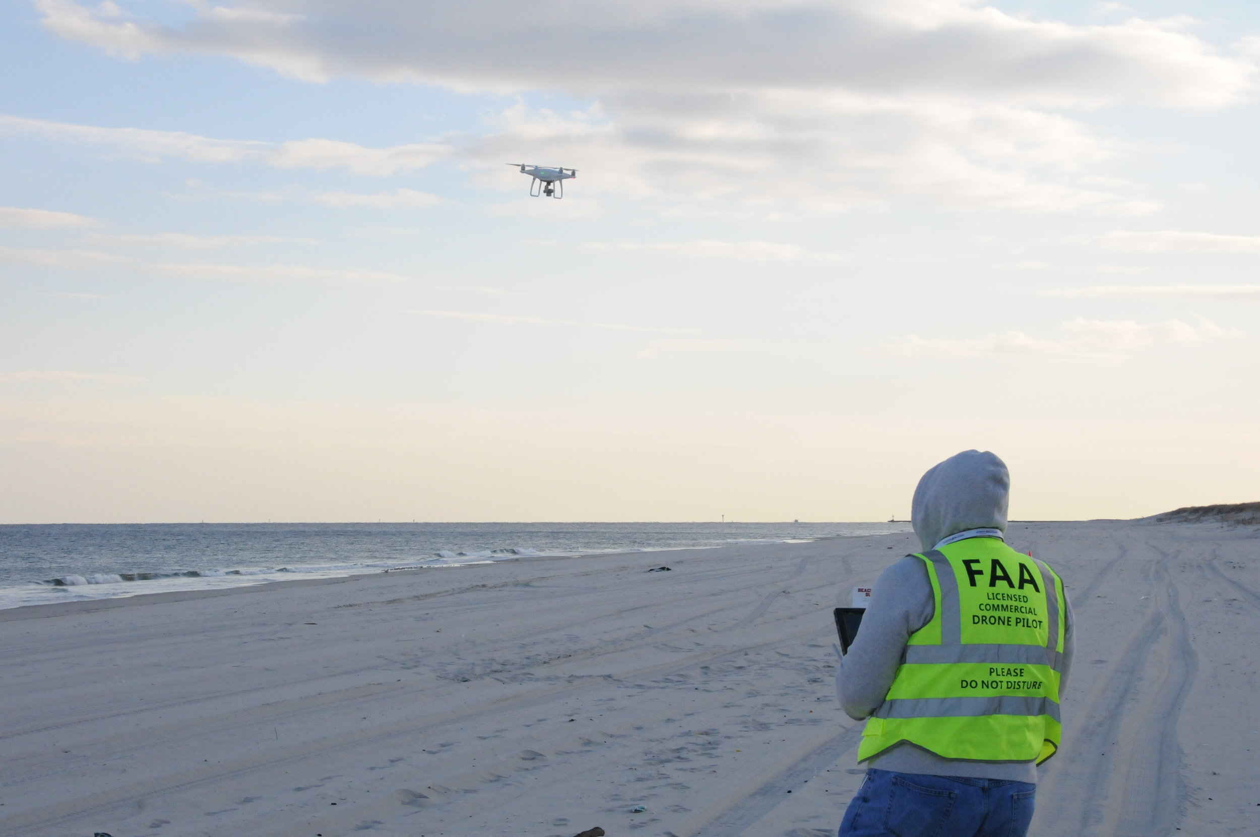 Morris Enyeart beginning a 100 yard drone survey on Island Beach State Park in December 2017. (Courtesy of Morris Enyeart)