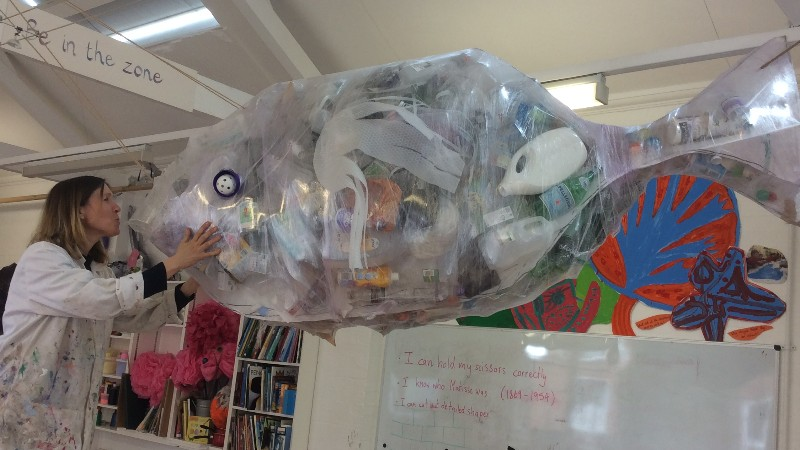 Flora with 'Whish', the culmination of her and her schools efforts to raise awareness about plastics in our ocean.