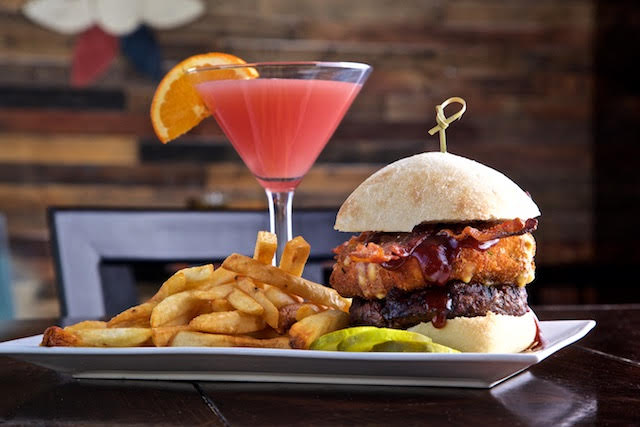 Meal: Mac & Cheese Burger + Bacon and side of fries    Drink: Island Martini