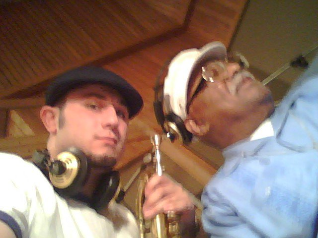 Chris Klaxton & Clark Terry @ Clinton Recording Studios for Louie and Clark (CT & Louie Bellson Big Band session)