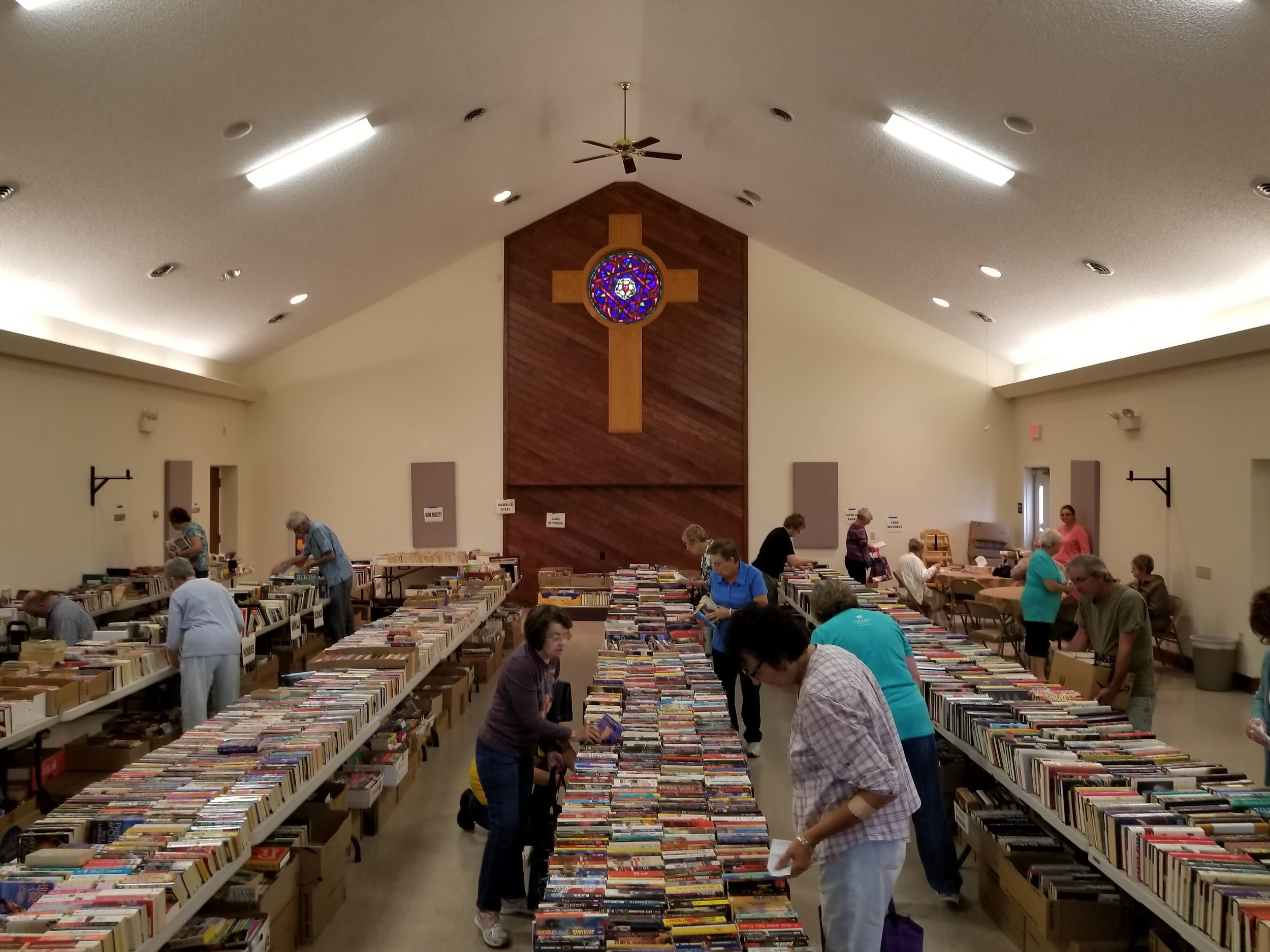 Thousands of books. Books for all reading levels and many interests. You won't get a sense for the size of this sale until you visit.