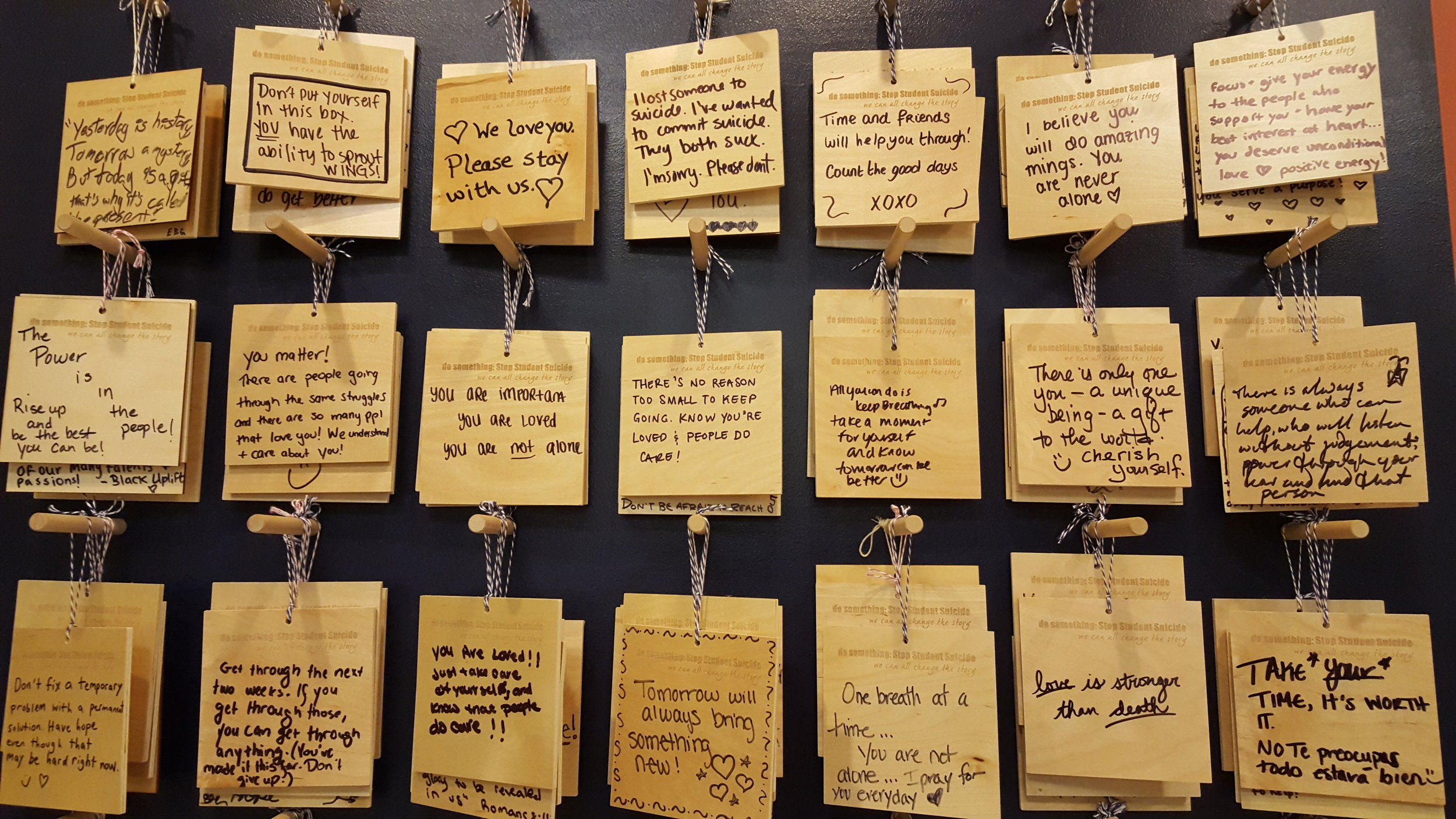 The wall of messages outside of University of Michigan's Counseling and Psychological Center. (Photo by Renee Gross)