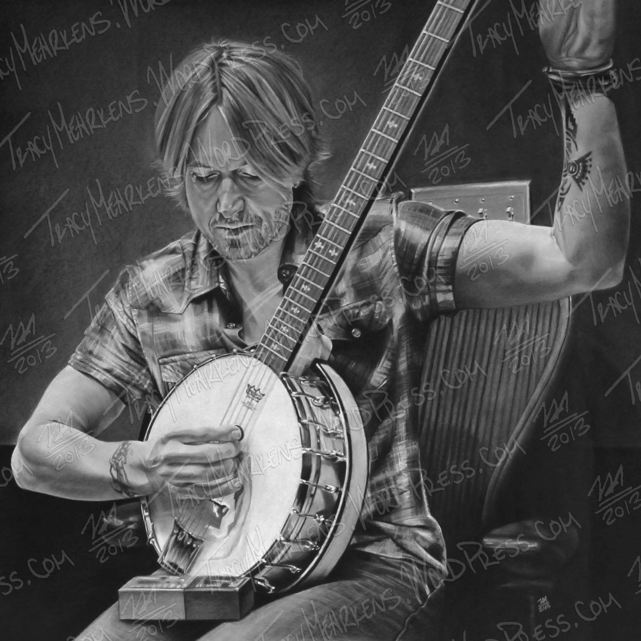Keith Urban. Charcoal on Paper. 24x24 in. 2015.