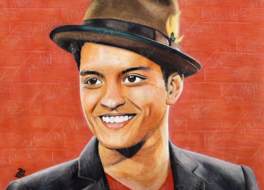 Bruno Mars. Watercolor on Paper. 11x8.5 in. 2011.