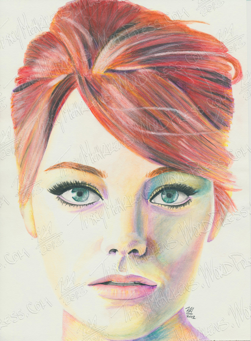 Emma Stone. Watercolor on Paper. 8.5x10.5 in. 2012.