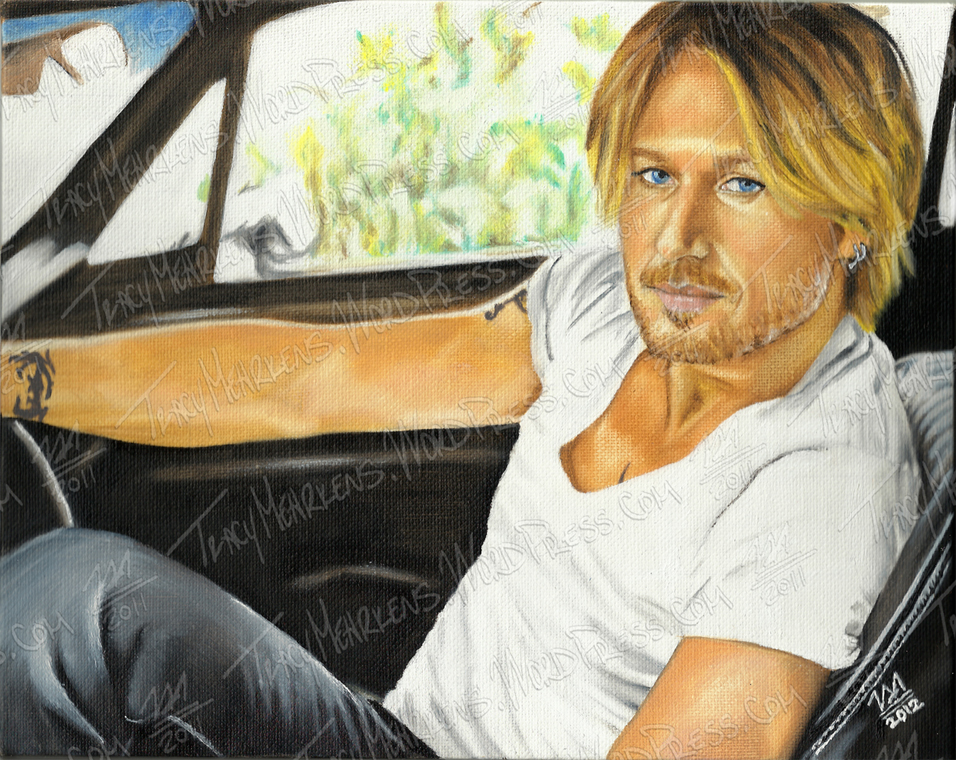 Keith Urban. Oil on Canvas Panel. 10x8 in. 2012.