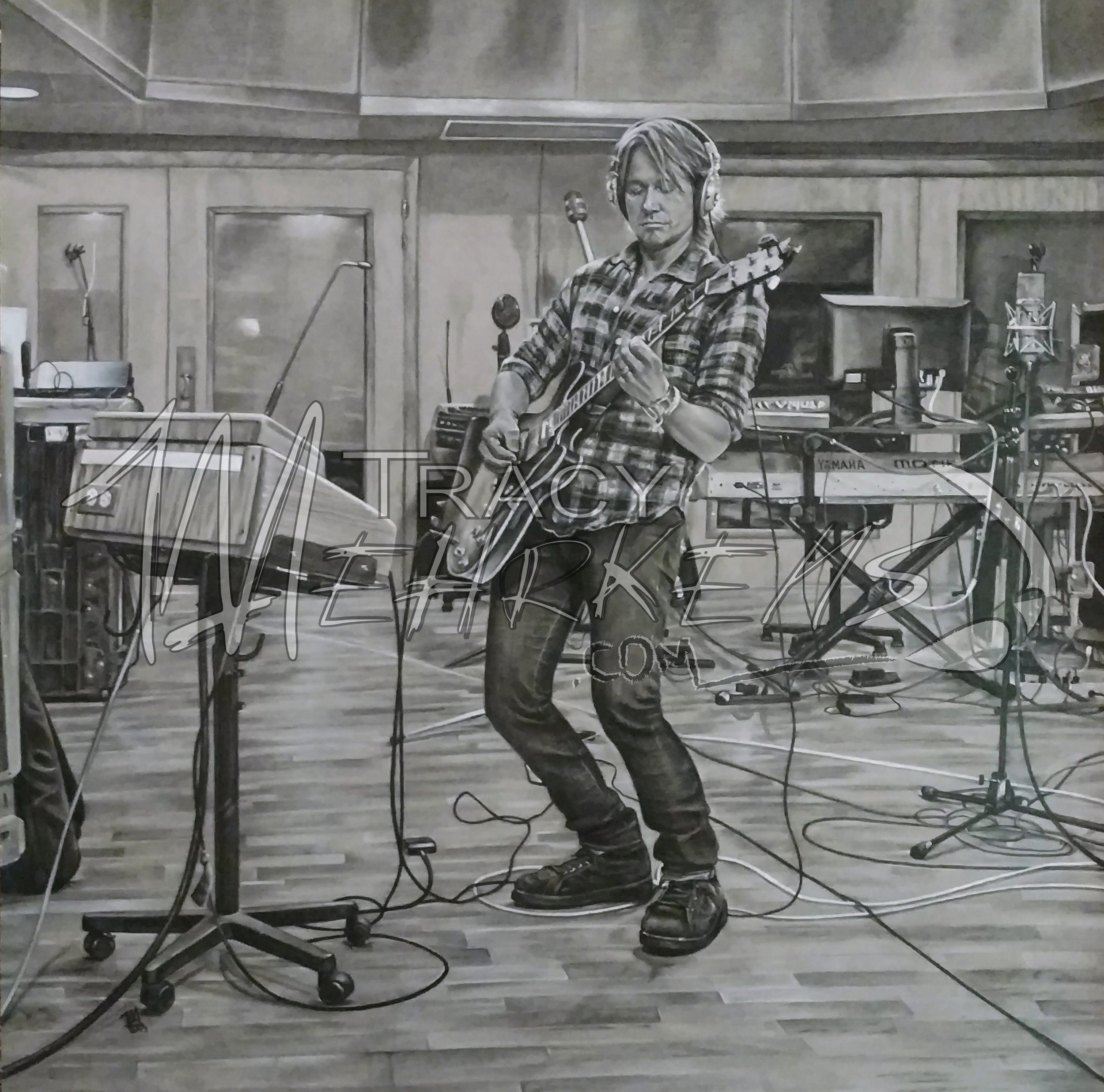 Keith Urban in Studio. Charcoal on Paper. 24x24 in. 2017.