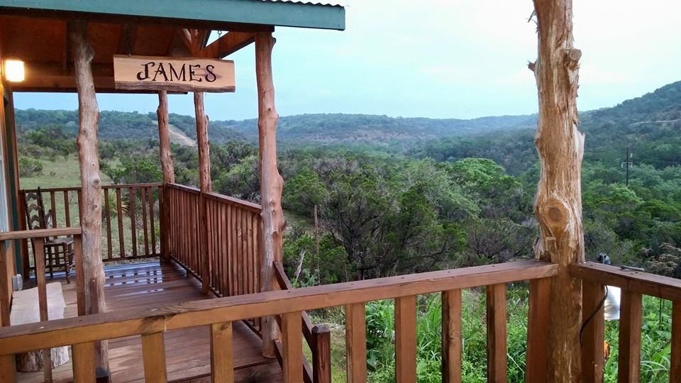 Each cabin has a spectacular view of the Wimberley valley.