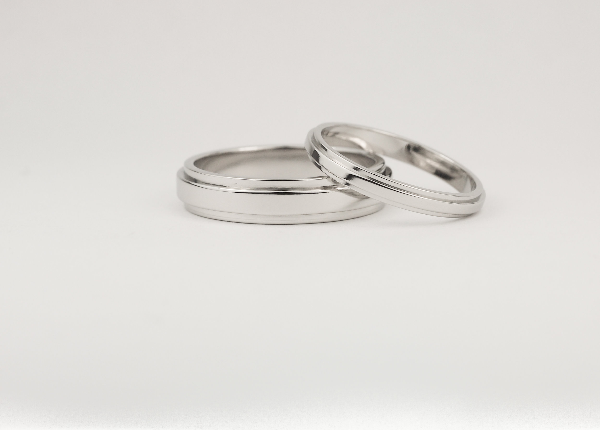 Matching art deco stepped rings in platinum