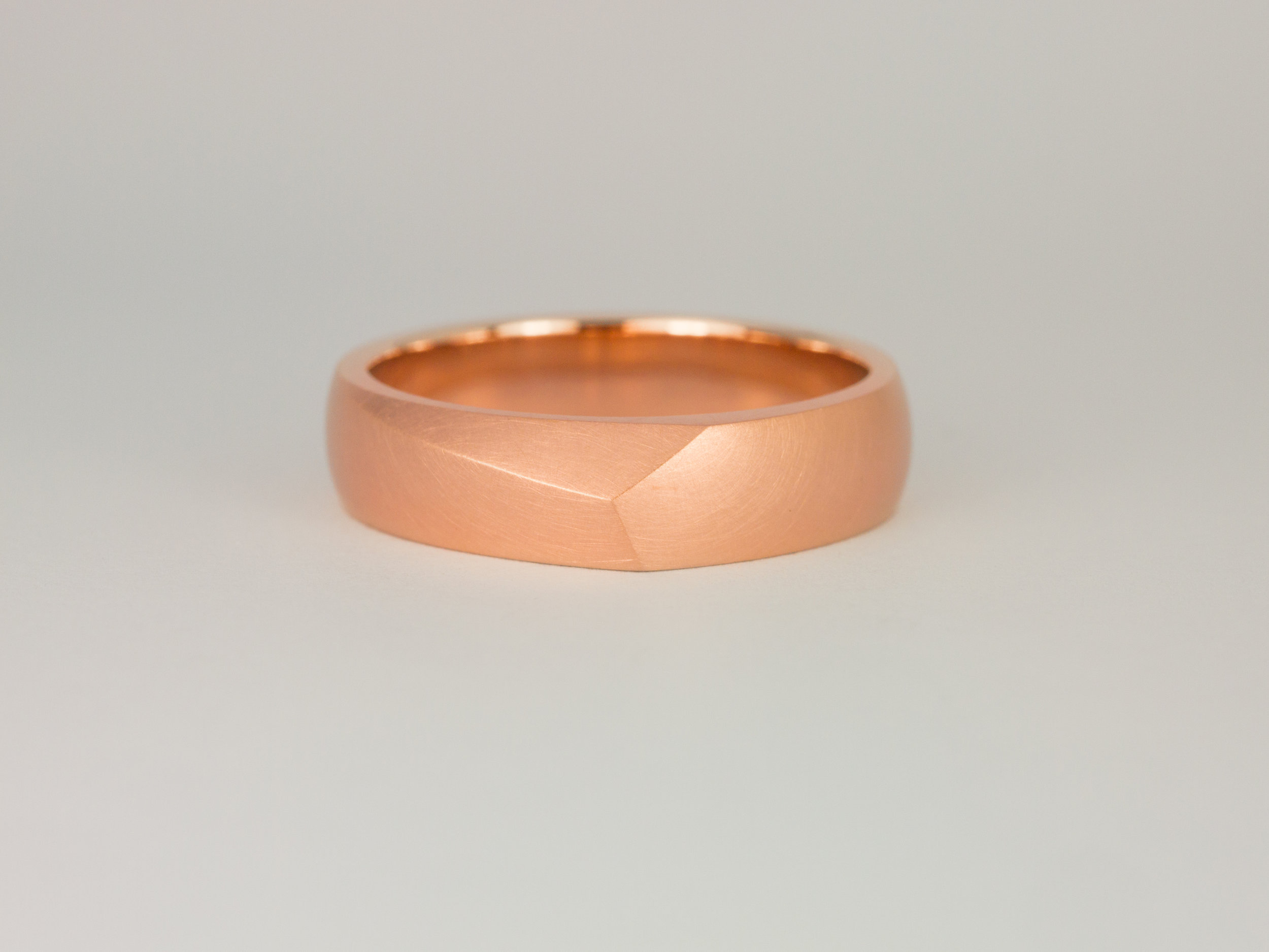 Men's Facet ring in rose gold