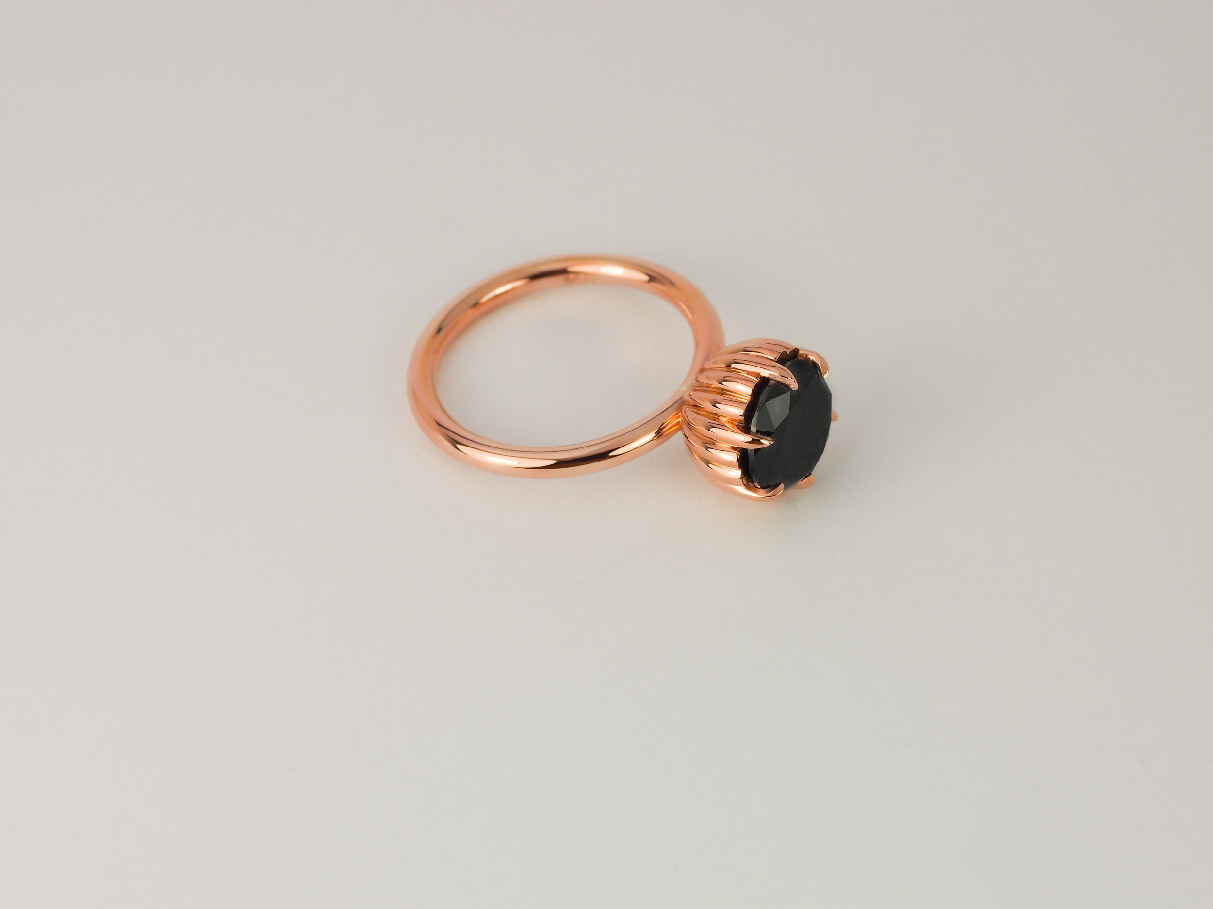 Rose gold black diamond engagement ring