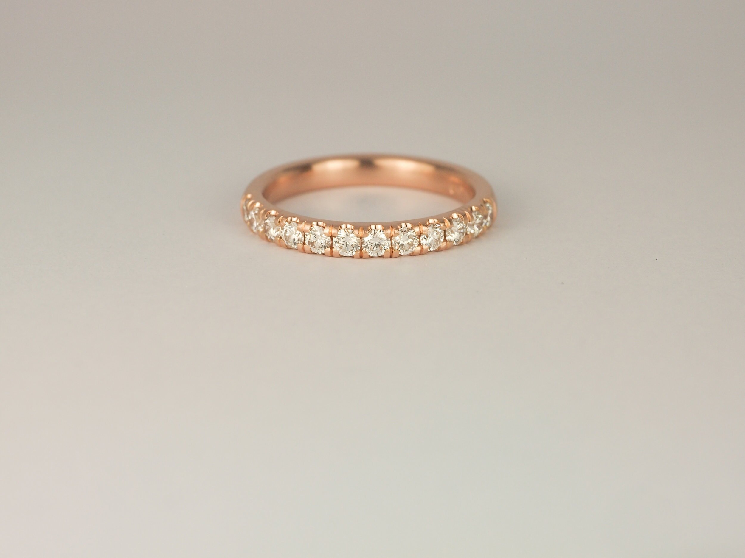 Micro pavé diamond band in rose gold