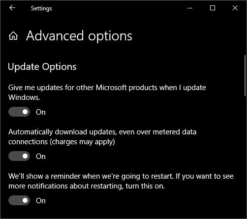 Don't overlook the all-important Advanced Options, which change quite often with Windows updates.