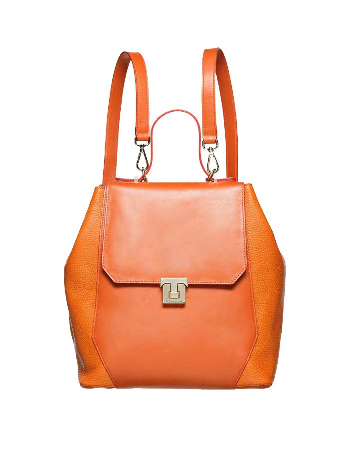 VITELLO DOLLARINO Dome Backpack, Color: Orange - TRUSSARDI Prima Linea Donna