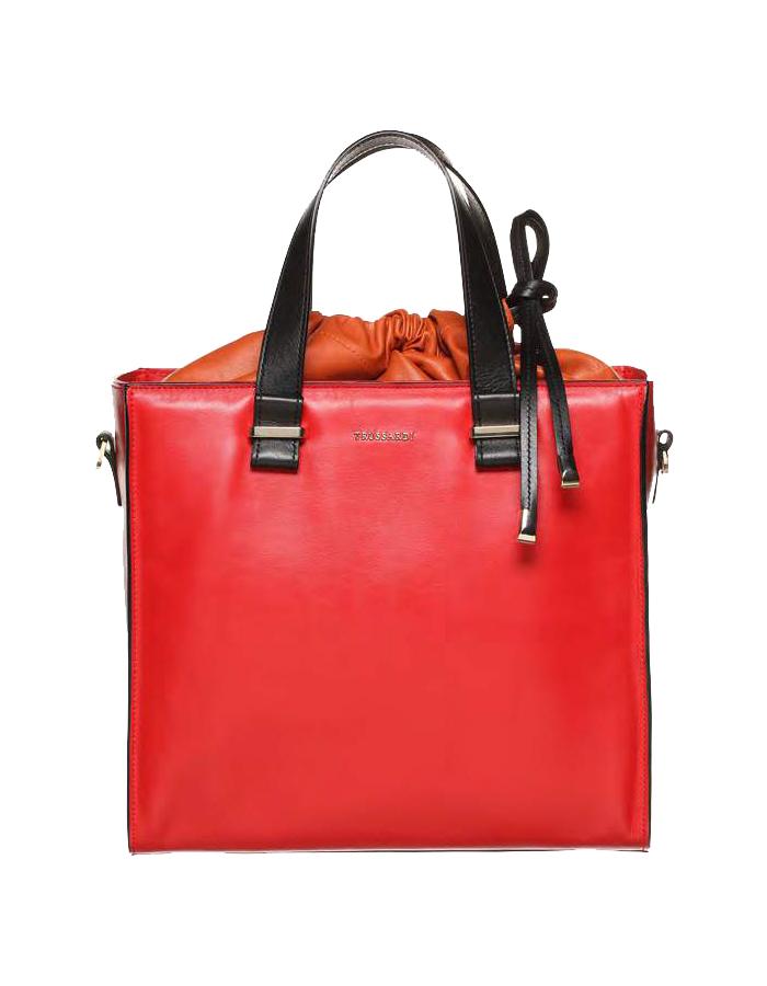 VITELLO NEW SAUVAGE Two Tone Bag, Color: Red - TRUSSARDI Prima Linea Donna