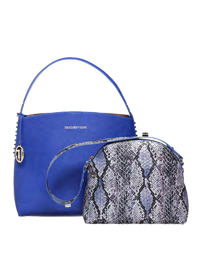 ASPEN Tote Pochette Ecoleather, Color: Dark Blue - TRUSSARDI JEANS