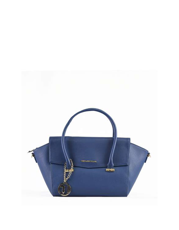 LEVANTO ECOSAFFIANO Flap Bag, Color: Blue - TRUSSARDI JEANS