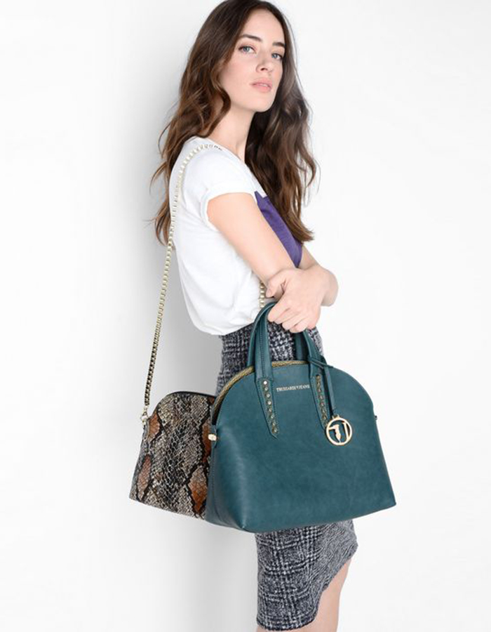 ASPEN Combo Bag Medium Reversible, Color: Jade - TRUSSARDI JEANS