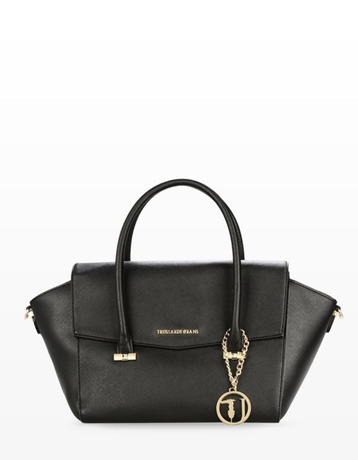 SAFFIANO Flap Bag, Color: Black - TRUSSARDI JEANS