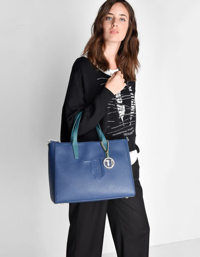 SAFFIANO IT Bag Large, Color: Blue - TRUSSARDI JEANS