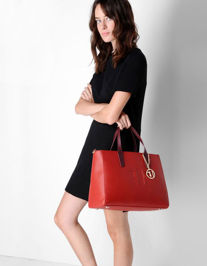 SAFFIANO IT Bag Large, Color: Brick Red - TRUSSARDI JEANS