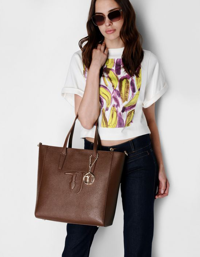 SAFFIANO IT Shopper, Color: Brown - TRUSSARDI JEANS