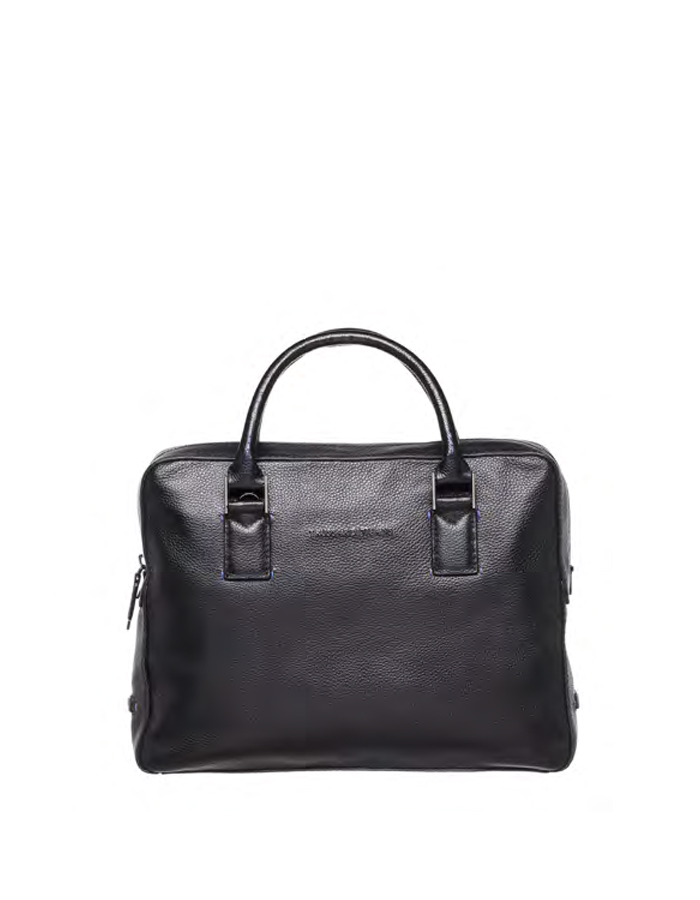 OTTAWA Briefcase Leather, Color: Black - TRUSSARDI JEANS