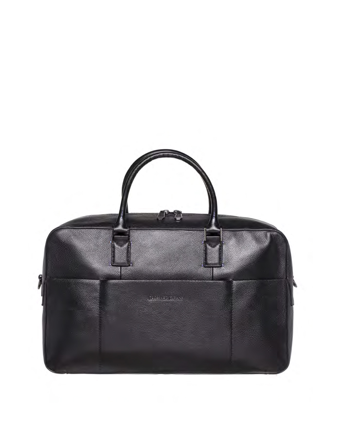 OTTAWA Travel Bag Leather, Color: Black - TRUSSARDI JEANS