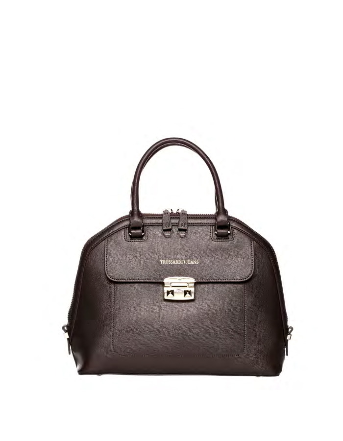 VAIL SAFFIANO Dome Ecoleather, Color: Brown - TRUSSARDI JEANS