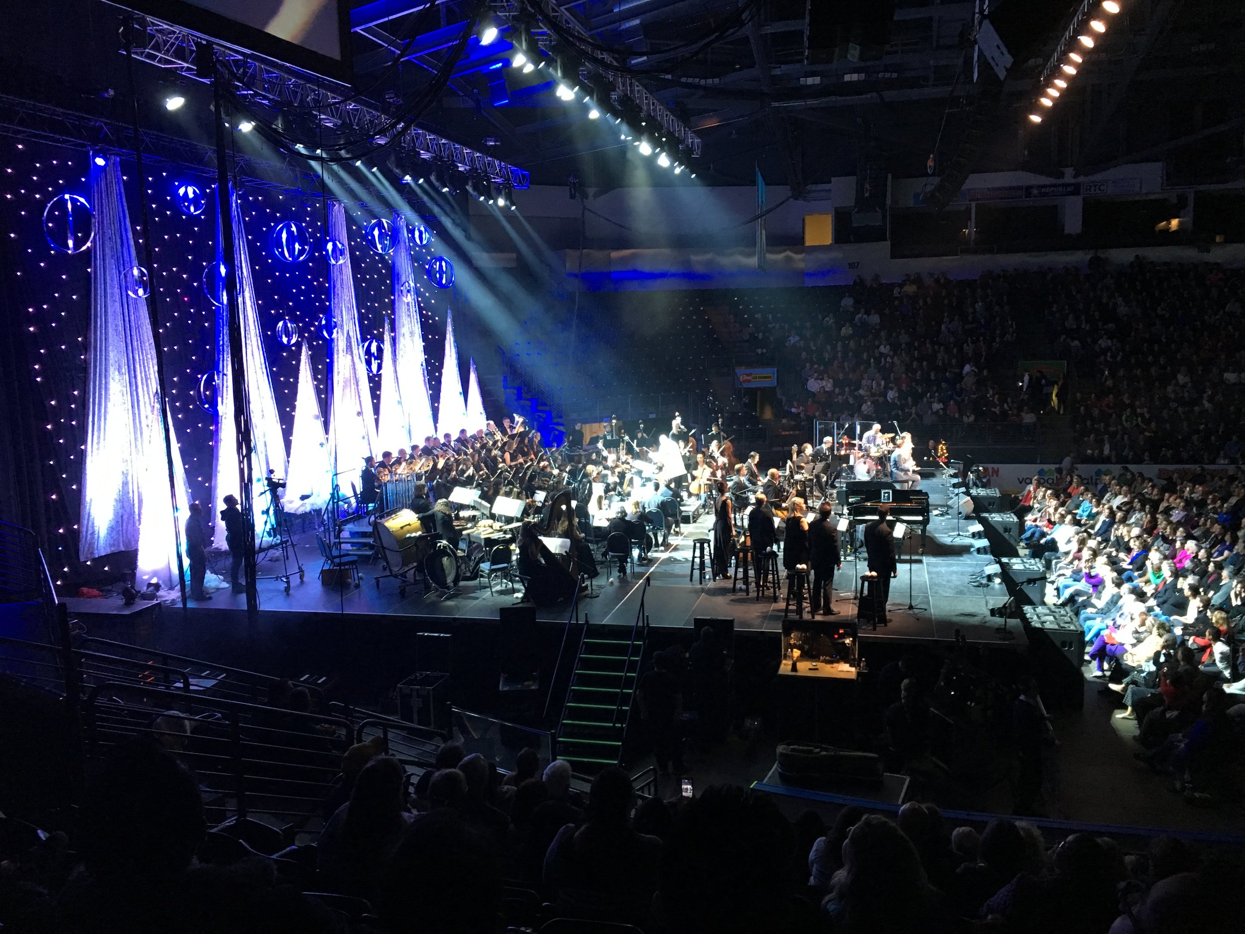 "The Mission House was given the opportunity to build this stage in 10 hours from the ground up for ""Michael W. Smith and Amy Grant"" for their Christmas Concert.    -Thank you Lord Dec 2016"