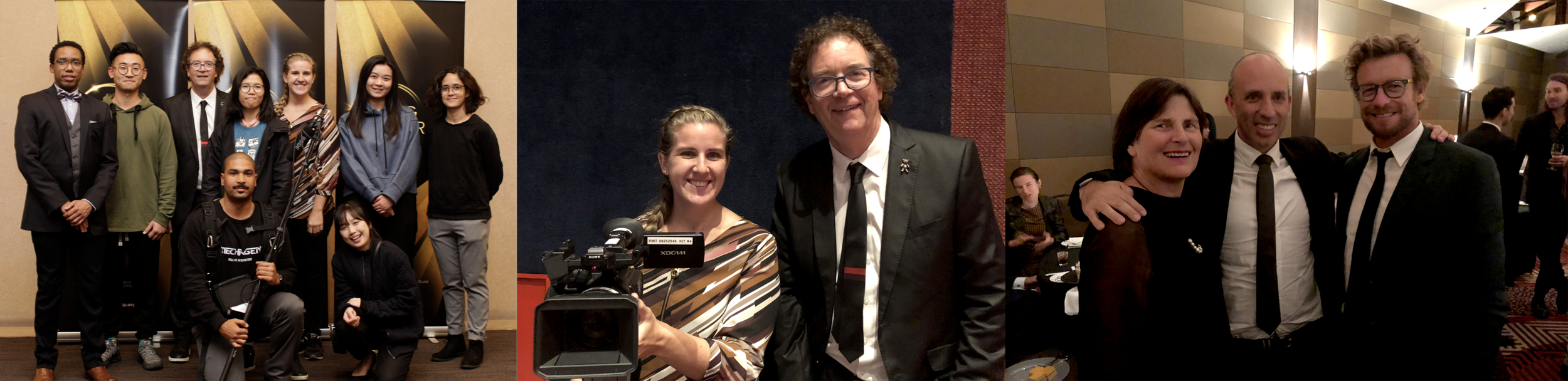Mark Poole (Head of ADG Victoria), Master of Media students, Sue Maslin (film producer) and Simon Baker (actor/director) at the ADG awards