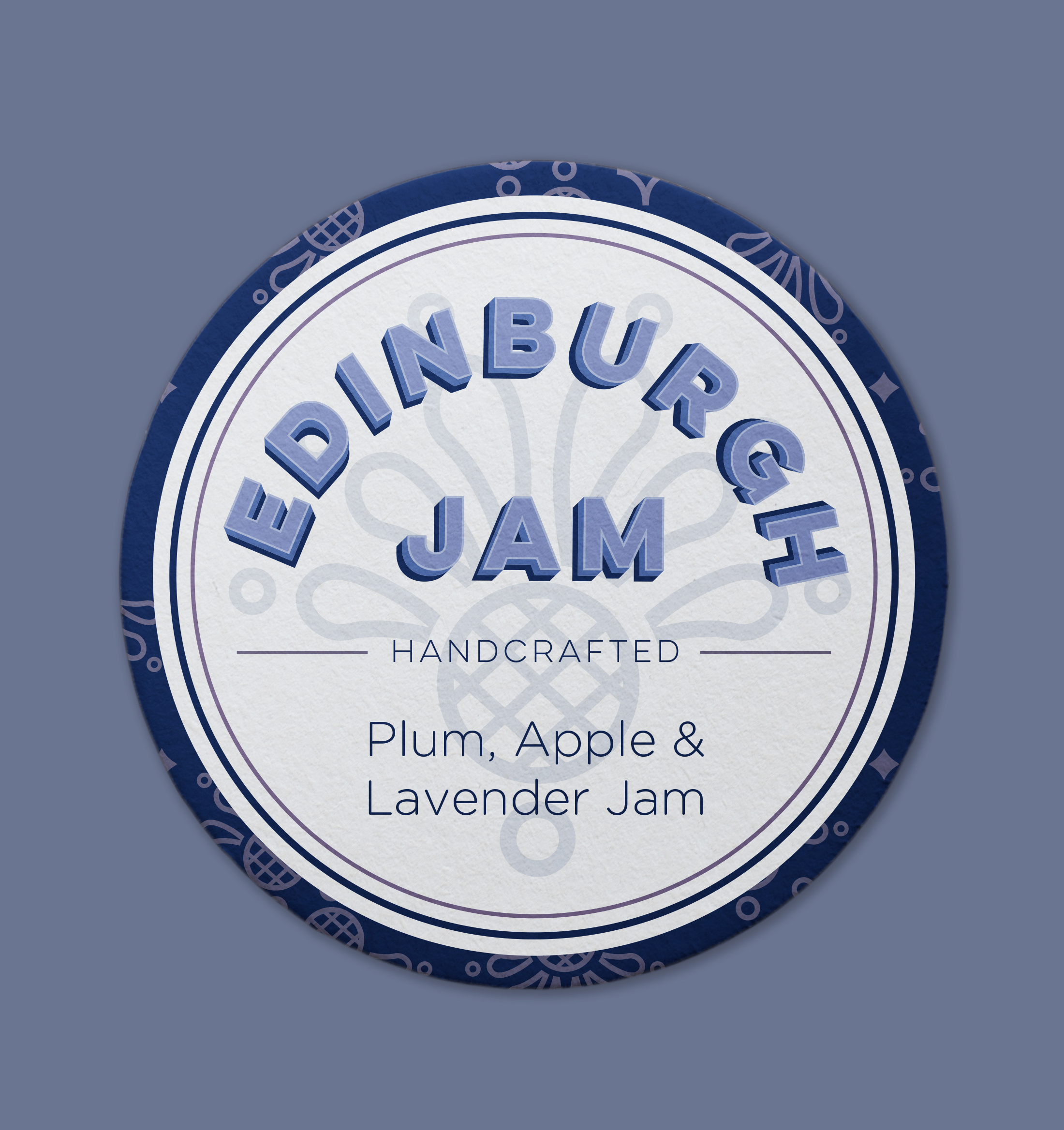 Edinburgh Jam Jar Label (Featuring Thistle Pattern)
