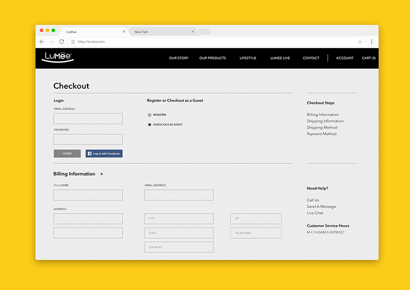 LuMee Checkout Page (Click for Large View)