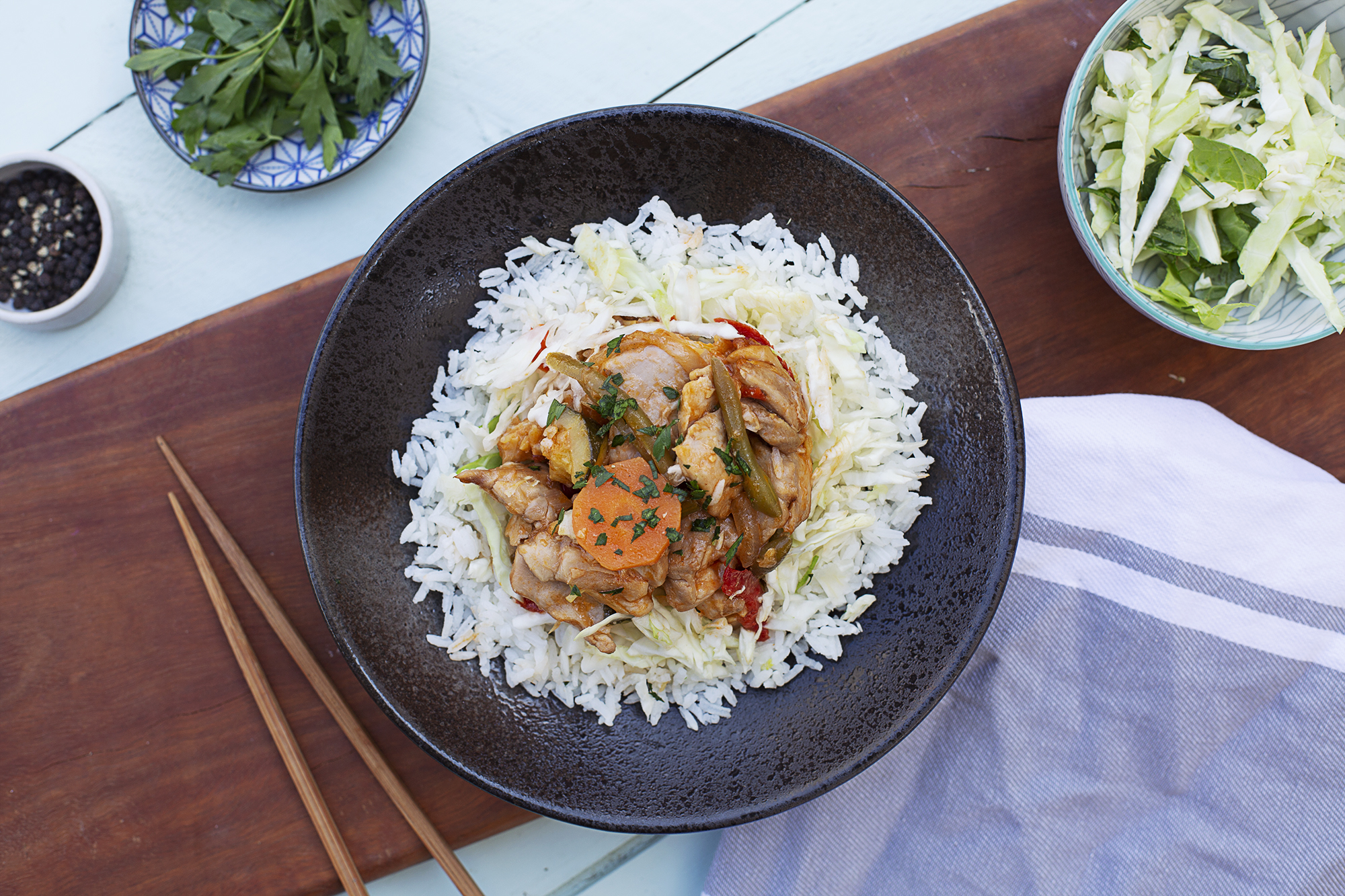 194. Sweet & Sour Pork with Green beans, capsicum, pineapple, zucchini and onion served with rice and steamed cabbage