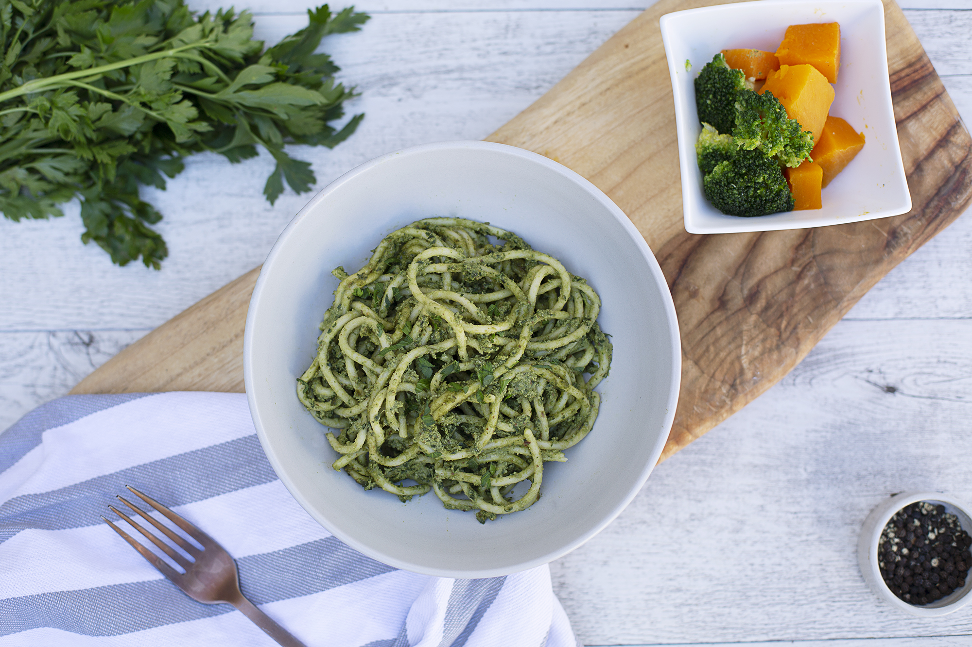 1003. Pesto Pasta served with roasted pumpkin and blanched broccoli