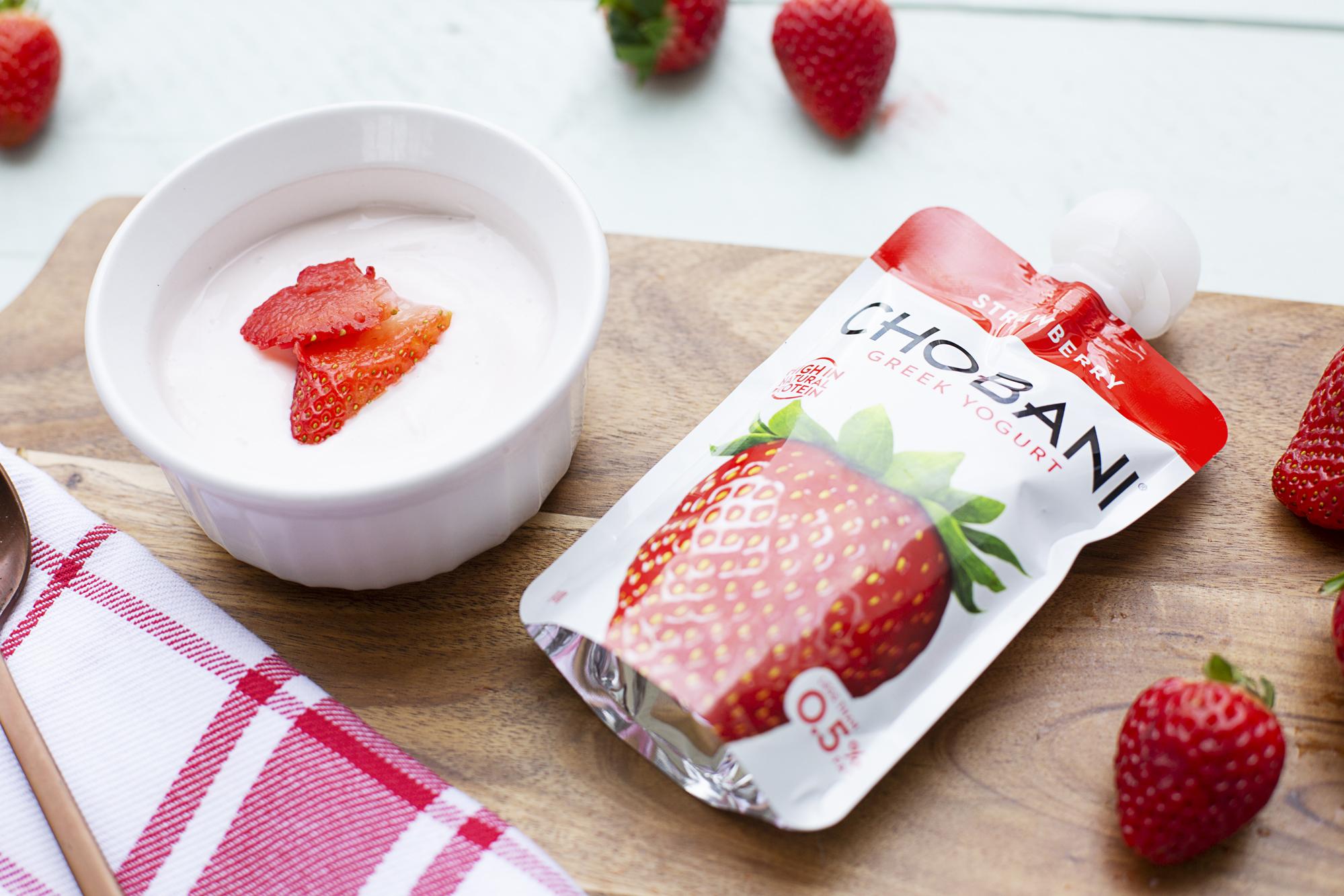 410. NEW! Chobani Pouch Strawberry Yoghurt