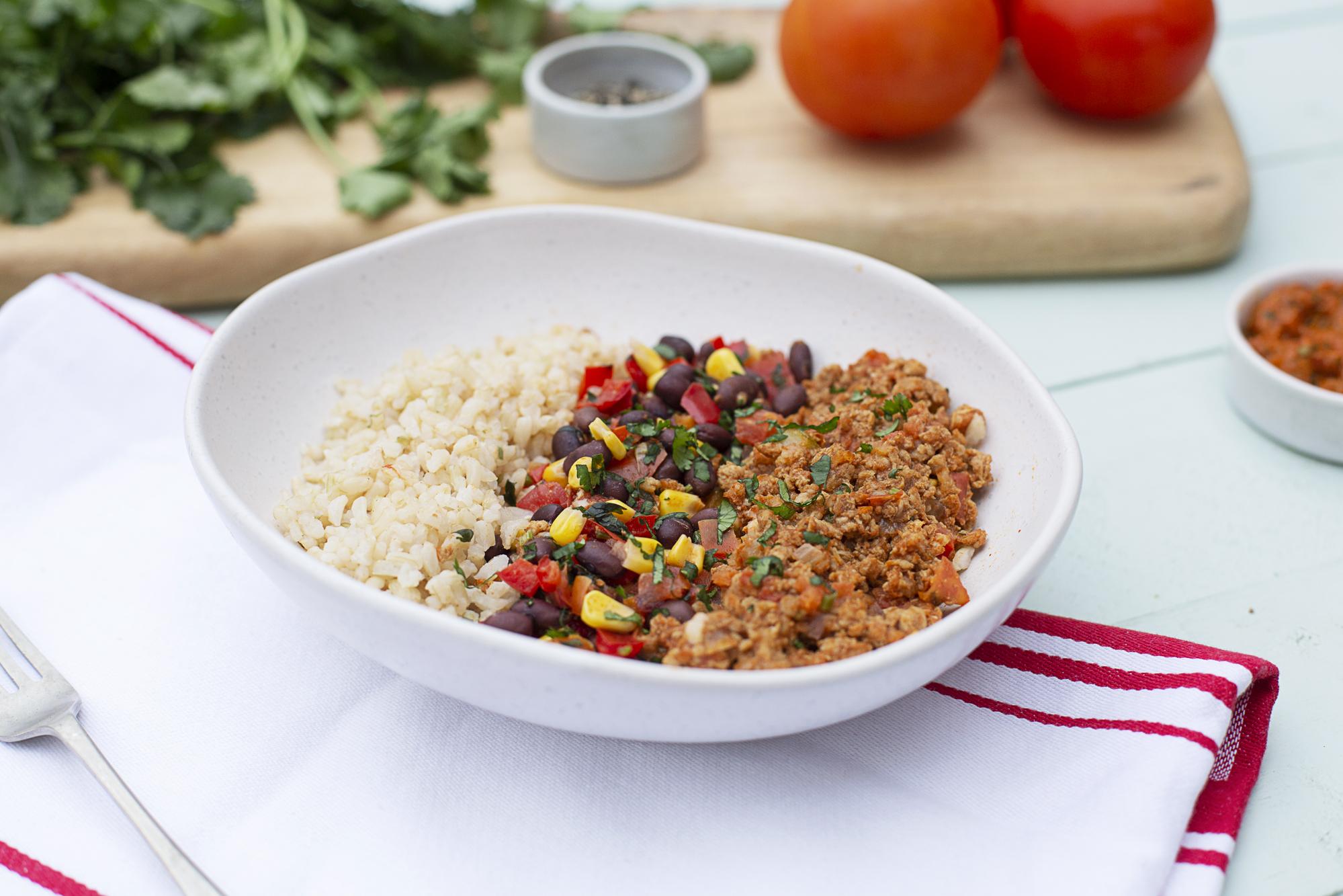 1017. Chicken Mex Bowl w brown rice & salsa