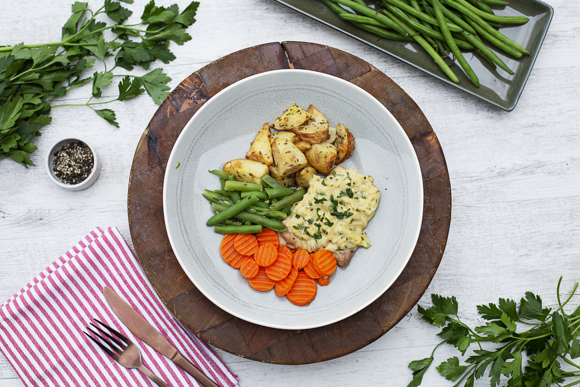1008. Dijon Mustard Chicken w potato wedges, carrots & beans