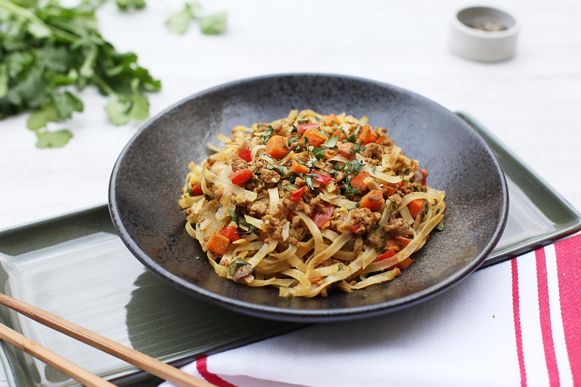 1012. Pork Chow Mein w rice noodles