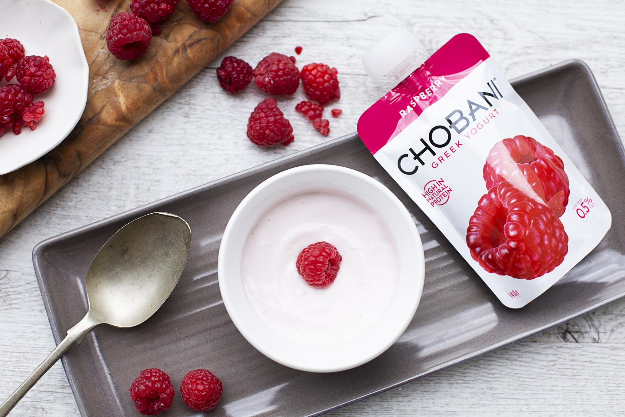 412. NEW! Chobani Pouch Raspberry Yoghurt
